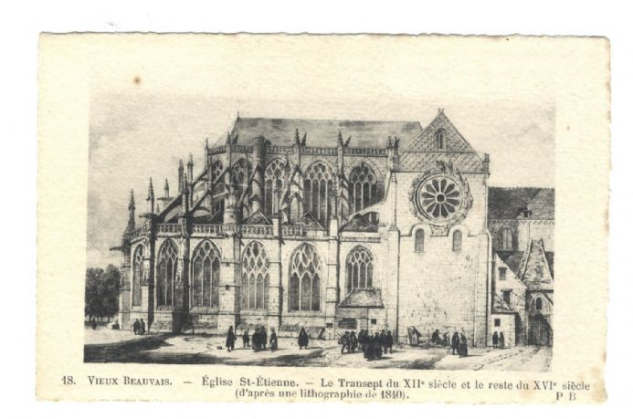 1920 POSTCARD Eglise Saint-Etienne BEAUVAIS FRANCE Antique DECKLED EDGE